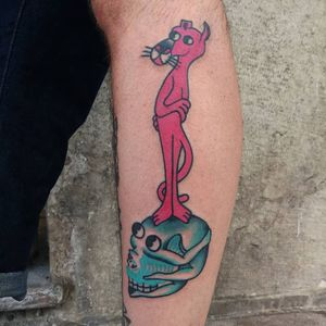 Tattoo by Paul Colli #PaulColli #traditional #pinkpanther #skull #lady #pinup #babe #death #funny #color