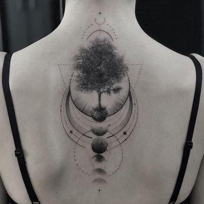 Tattoo by Ali Anil Ercel #AliAnilErcel #moontattoos #Moontattoo #moon #night #nightsky #nature #sky #backtattoo #tree #moonphases #fineline #linework #dotwork