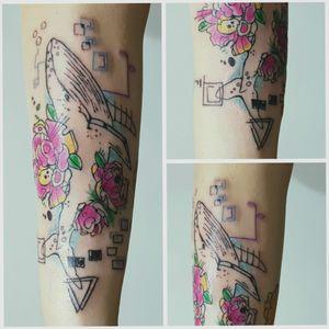 My work #tattoo #artist #tattooartist #art #Bishoprotary #eternalink #ilovetattoo #sonami #sonamiaoi #thankful #nice #flowers #colourtattoo #whaletattoo