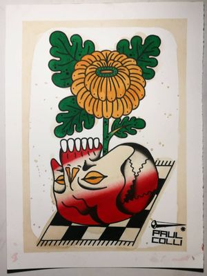 Tattoo flash by Paul Colli #PaulColli #traditional #color #chrysanthemum