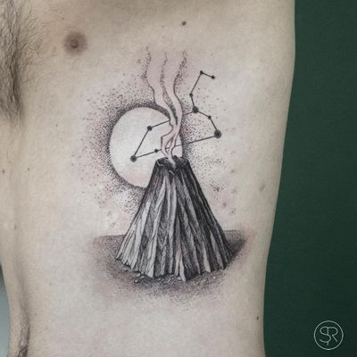 Tattoo by Sven Rayen #SvenRayen #moontattoos #Moontattoo #moon #night #nightsky #nature #sky #volcano #mountain #smoke #constellation #star #dotwork #illustrative