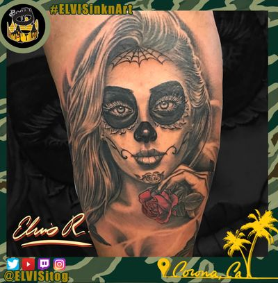 Day of the dead design i made. Tattooed in honolulu hawaii. #dayofthedeadgirl #dayofthedead #blackandgrey