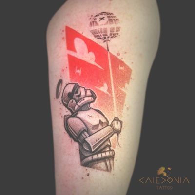"""""""Stormtrooper!"""" For any enquiry, please contact me directly on Facebook. https://www.facebook.com/caledoniatattoo/ May the Force be with you! #caledoniatattoo #tattoo #starwars #starwarstattoo #stormtrooper #stormtroopertattoo #graphic #graphictattoo #illustration #deathstar #maytheforcebewithyou #ink"""