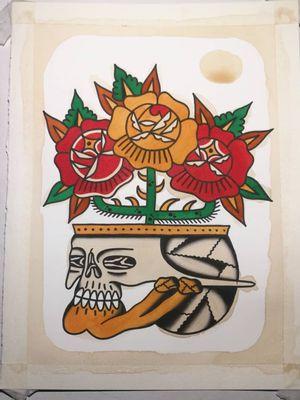 Tattoo flash by Paul Colli #PaulColli #traditional #rose #skull