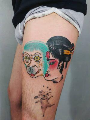 Tattoo by Paul Colli #PaulColli #traditional #geisha #Japanese #lady #ladyhead #Monkey #mask #color