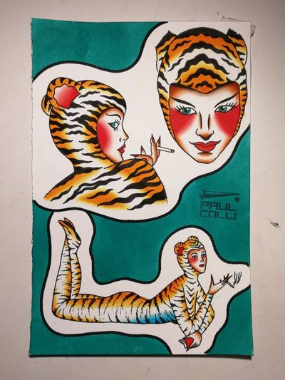 Tattoo flash by Paul Colli #PaulColli #traditional #leopard #catlady #catwoman #tiger #cat #kitty #babe #pinup