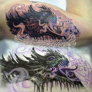 Dragontattoo. #tattoo #arm #skin #humanbody #font #biceptattoo #flesh #drawing #instaart #tats #tattoos #tattedup #instatattoo #tattooed #floridatattooartist #deland #daytona #deltona #florida #volusiacountytattooartist #orlando #tattoosbydreadz #dannycollins #blackcalaveratattoo #fantsy #mythicalcreature #dragon #monster #fiction #magicthegathering #wizardsofthecoast