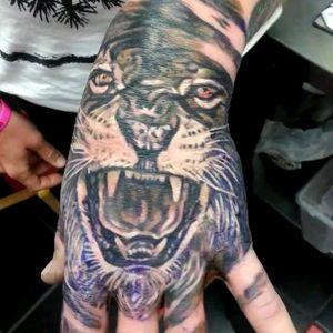 Lion on hand #arm #hand #wrist #finger #lion #tattoo #pattern #design #flesh #chesttattoo #art #tattedup #photography #instatattoo #photooftheday #tattoos #tatted #tat #inked #tatts #instagood #tattooed #handtattoo #bodyart #instaart #floridatattooartist #deland #daytona #deltona #florida #volusiacountytattooartist #orlando #tattoosbydreadz #dannycollins #blackcalaveratattoo #jobstopper #realistic #leo #handtattoos