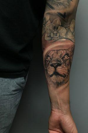 #lion #flowers #blackandgrey #sleeve #animal #portrait #realism #art #floridatattooartist