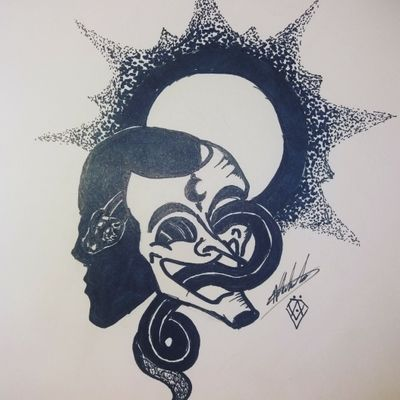 #blackandgreytattoo #masks #snakes #moon