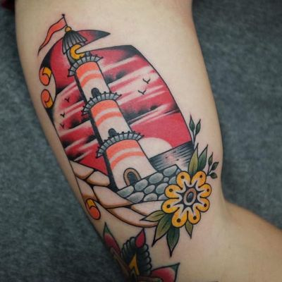 Tattoo by Andrei Vintikov #AndreiVintikov #landscapetattoos #landscape #world #land #world #earth #environment #lighthouse #traditional #flower #sea #birds