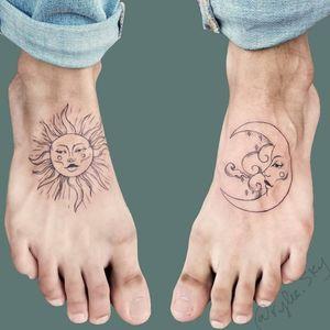 Sun and moon . . . #sunandmoon #sunandmoontattoo #suntattoo #moontattoo #foottattoo #matchingtattoos #newyork #newyorkartist #nycink #nyctattooer #BlackworkTattoos #ladytattooers  #blackwork #nyc