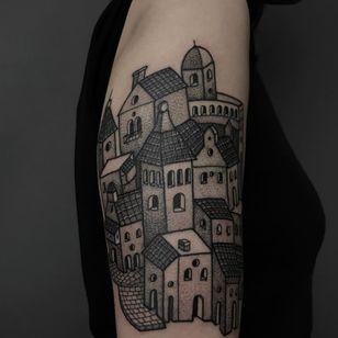 Tattoo by Alfredo Guarracino #AlfredoGuarracino #landscapetattoos #landscape #world #land #world #earth #environment #city #cityscape #architecture #building