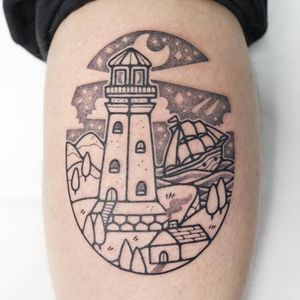 Tattoo by Hugocide #Hugocide #landscapetattoos #landscape #world #land #world #earth #environment #lighthouse #ship #house #tree #ocean #sky #illustrative