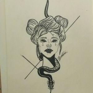 #snaketattoo #womanportrait #satanic #blackandgreytattoo