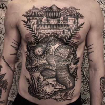 Tattoo by Joel Soos #JoelSoos #landscapetattoos #landscape #world #land #world #earth #environment #mongoose #snake #castle #animals #blackandgrey