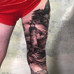 Tattoo by Andrew Borisyuk #AndrewBorisyuk #landscapetattoos #landscape #world #land #world #earth #environment #realism #realistic #lighthouse #mountain #shark #clouds #blackandgrey