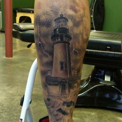Tattooed by Ryan Hammond #lighthouse #blackandgrey #realisitictattoo #realism #renton #seattle #washington