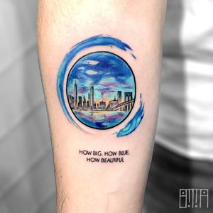 Tattoo by Emma Grace #EmmaGrace #landscapetattoos #landscape #world #land #world #earth #environment #watercolor #cityscape #NewYork #bridge #city #building #architecture