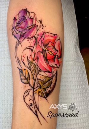 Watercolor Roses . . #dannytattoos #darkagetattoo #dentontx #dentonsquare #dentontattooartist #dfwtattoos #dentontattoos #tattooartist #axysrotary #watercolorrose #watercolortattoo #rosetattoo