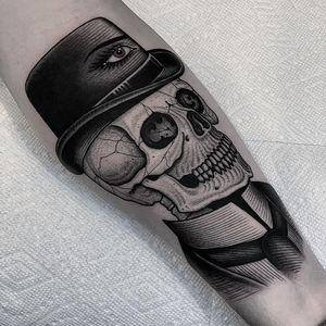 Tattoo by BlackCasketTyler #BlackCasket #BlackCasketTyler #dotworktattoos #dotwork #stippling #dots #illustrative #blackwork #skull #death #eye #bowlerhat #hat