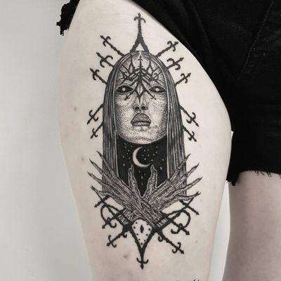 Tattoo by Josef Batar #JosefBatar #dotworktattoos #dotwork #stippling #dots #illustrative #blackwork #ladyhead #lady #portrait #moon #symbol #sigil #evil #demon #darkart