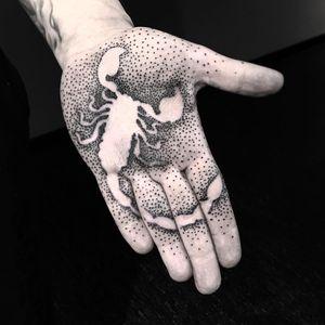 Tattoo by Piotr Szencel #PiotrSzencel #dotworktattoos #dotwork #stippling #dots #illustrative #blackwork #scorpion #palm