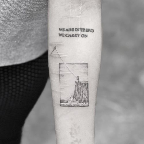 Tattoo by Mr. K #MrK #selfharmscarcoveruptattoo #coveruptattoo #scarcoveruptattoo #scarcoverup #coverup #kite #text #ocean #fly #empower