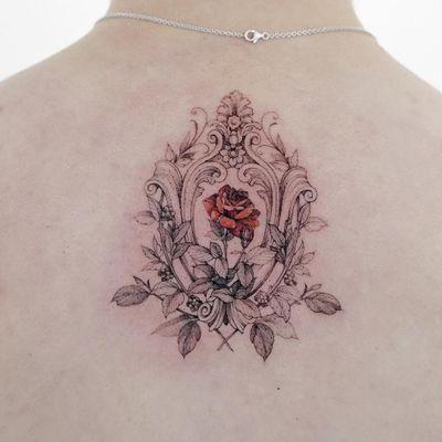 Tattoo by Zihwa #Zihwa #finelinetattoos #fineline #delicate #linework #illustrative #rose #flower #floral #frame