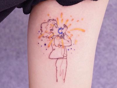 Tattoo by Nanal Tattoo #NanalTattoo #finelinetattoos #fineline #delicate #linework #illustrative #studioghibli #howlsmovingcastle #star #howl #anime #manga #watercolor