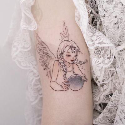 Tattoo by Zihae #Zihae #finelinetattoos #fineline #delicate #linework #illustrative #angel #wings #feathers #portrait #moon