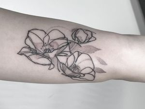 Tattoo by Brian Steffey aka briansold #BrianSteffey #BrianSold #finelinetattoos #fineline #delicate #linework #illustrative #flower #floral #abstract #dotwork #magnolia