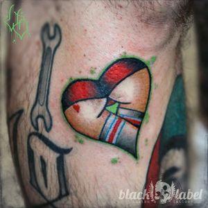 Lil' heartass on my boy #tattoo #traditional #traditionaltattoo #traditionalbangers #americantraditional #americanatattoos  #bold #oldschool #boldwillhold #tradwork #tradworkers_tattoo