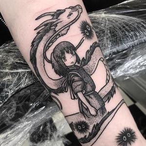 Spirited Away cover up tattoo by Raine Knight #RaineKnight #selfharmscarcoveruptattoo #coveruptattoo #scarcoveruptattoo #scarcoverup #coverup #SpiritedAway #studioghibli #chihiro #haku #sootsprite #illustrative