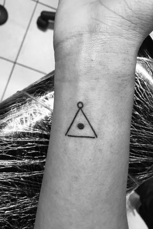 Small symbolic tattoo #triangle #blackwork #linework #blackwork #blackandgray #wristtattoo