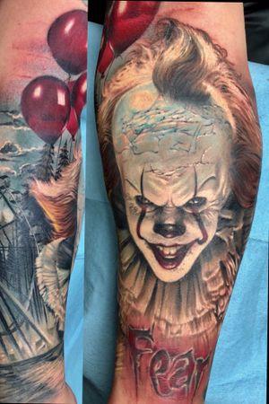 """It"" half sleeve horror portrait."