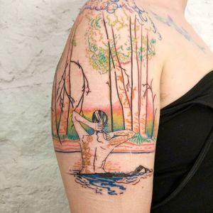 Tattoo rat666tat #rat666tat #selfharmscarcoveruptattoo #coveruptattoo #scarcoveruptattoo #scarcoverup #coverup #nature #flower #floral #rebirth #forest #trees #water #lake