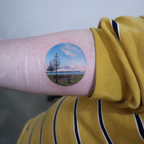 A moment of peace. Tattoo by Eva Krbdk #EvaKrbdk #selfharmscarcoveruptattoo #coveruptattoo #scarcoveruptattoo #scarcoverup #coverup #realism #landscape #lake #trees #nature #peace #hyperrealism