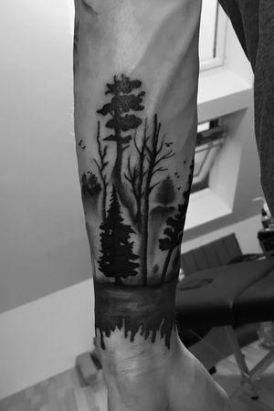 Part 2 of a nature sleeve #blackwork #blackandgray #armsleeve #sleeve #nature #birds #trees