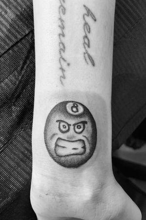 Small 8 ball tattoo, own design. #blackandgray #blackwork #wristtattoo #eightball #8ball