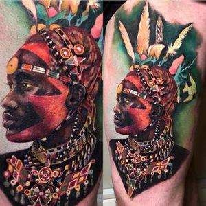 Maasai warrior. #photography #tattoo #tattoos #tattooideas #tattoo2me #tattooist #portrait #portraittattoo #portraiture #painting #tatt #tattrx #inkedgirls #inked #ink #yayofamilia #tattoomodel #fish #sea #seatattoo #realism #surrealism #realistictattoo #tatuaje #italian #italiangirl #color #colortattoos #girl #londontattoo