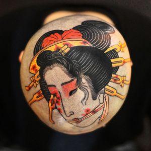 Tattoo by Haku #Haku #illustrative #neojapanese #japanese #koreanartist #japaneseinspired #namakubi #Oiran #geisha #severedhead #blood