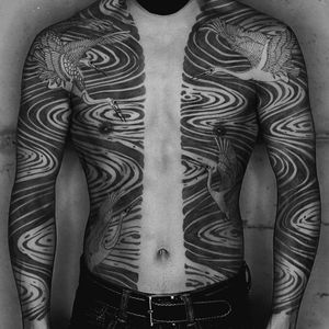 Tattoo by Haku #Haku #illustrative #neojapanese #japanese #koreanartist #japaneseinspired #crane #lake #bodysuit