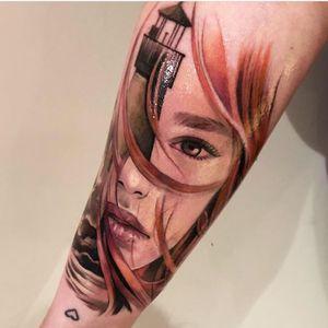 Lighthouse girl. #photography #tattoo #tattoos #tattooideas #tattoo2me #tattooist #portrait #portraittattoo #portraiture #painting #tatt #tattrx #inkedgirls #inked #ink #yayofamilia #tattoomodel #fish #sea #seatattoo #realism #surrealism #realistictattoo #tatuaje #italian #italiangirl #color #colortattoos #girl #londontattoo