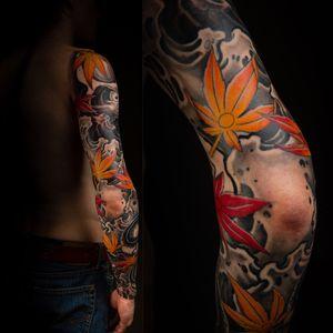 #tattoo . . . . . . . #jasonsextontattoo  #japanesetattooart #japanesestyletattoo #japanesetattoo #asiantattoo #irezumi #asianink #japanesetattoos #irezumistudy #irezumitattoo #irezumism #irezumicollective #irezumitattoos #irezumiink #dharma #meditation #mapleleaf #sleeve