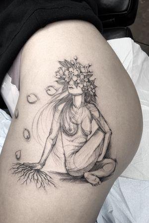 Yoga inspired pin-up. Blackwork, sketchwork