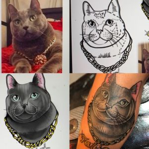 Custom animal portrait from reference to stencil to color rendering to tattoo,