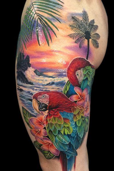 A super #tropical piece I did a little while back. #tattoo #tattoos #ink #inked #tattooidea #tattooideas #amazingtattoos #realismtattoo#femininetattoos #tattoodesign #besttattoos #amazingtattoo #superbtattoos #fusionink #tattoodo #tattoodooapp #lizvenom #floraltattoo #rosetattoo #tattoorose #edmontontattoo #edmontonink #skinartmag #macaw #macaws #parrot #bird #birds #frangipani #plumeria #color #beach #ocean #wave #sunset #hawaii #tropics #purple #scenery #scenic