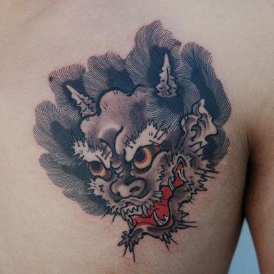 Tattoo by Haku #Haku #illustrative #neojapanese #japanese #koreanartist #japaneseinspired #oni #demon #yokai #deity #darkart