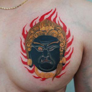 Tattoo by Haku #Haku #illustrative #neojapanese #japanese #koreanartist #japaneseinspired #Fudo #fire #deity #buddhism